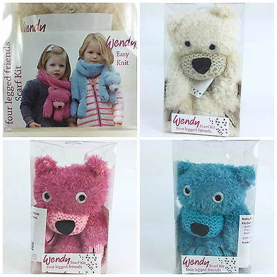 Bobby bear Four legged friends scarf knitting kit by Wendy pink cream or blue
