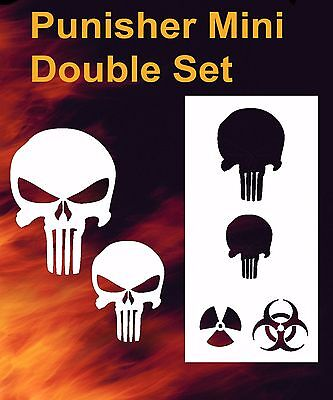 Punisher Skull Mini Double Set Airbrush Stencil Spray Vision Template