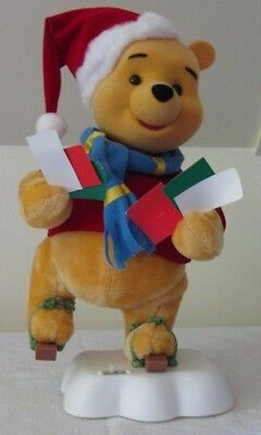 Telco Animated WINNIE THE POOH Skater Motion-ette Christmas Display~Santa Hat