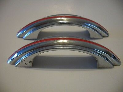 Two VTG CHROME Drawer Cabinet Pulls Handle Stepped Sides RED Line Stripe Amerock