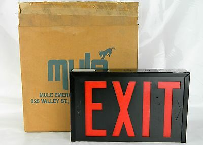 Black & red Emergency Exit Light Sign Mule Commercial Unit Industrial New In Box