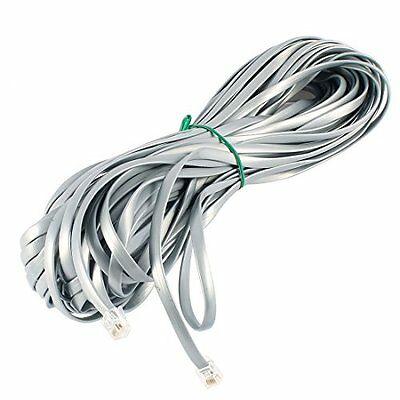 Uxcell RJ12 6P6C Male Plug Flat Telephone Line Cable Cord, 20M 65-Feet, Gray