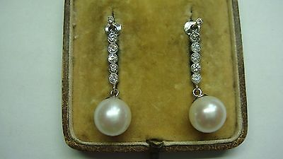 A Pair Of Large 10 Mm Pearl & Diamond Drop Enhancer Earrings In 18Ct Gold