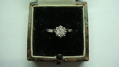 Vintage Vs1  0.20Ct Diamond Solitaire Ring In 18Ct White Gold Size K 1/2