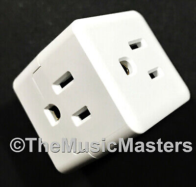 Triple 3 Outlet Grounded AC Wall Plug Power Splitter Cube 3-Way Electric Adapter