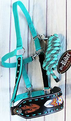 Horse Noseband Tack Bronc Leather HALTER Tiedown Lead Rope  280M7984
