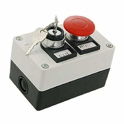 uxcell Key Lock on/off Switch Red Mushroom Push Button Station