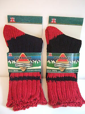 2 x New Pairs Of Outdoor Kids Hiking Socks Size 4-6 Red & Navy