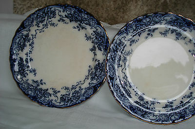 """Late Mayers Keeling Losol 2 Chatsworth Flow Blue 10"""" Plates Antique Victorian"""