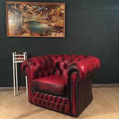 Retro Vintage Cherry Red Leather Chesterfield Club Chair Seat