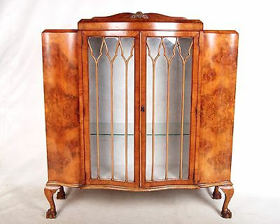 Vintage Bookcase Glazed French Art Deco Walnut Cocktail Display Cocktail Cabinet