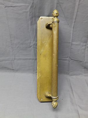 Large Vtg Heavy Brass Industrial Door Pull Handle Push Plate Old Deco 2076-16