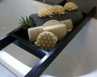 Timber Bath Caddy, Wood Slats 'NEW' Chasm Onyx -2017 Home Staging Trend