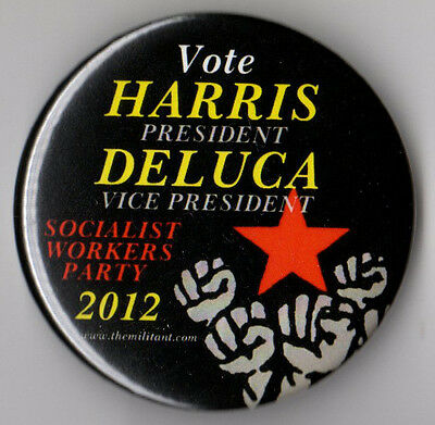 James Harris political campaign button pin 2012 Socialist Workers Party