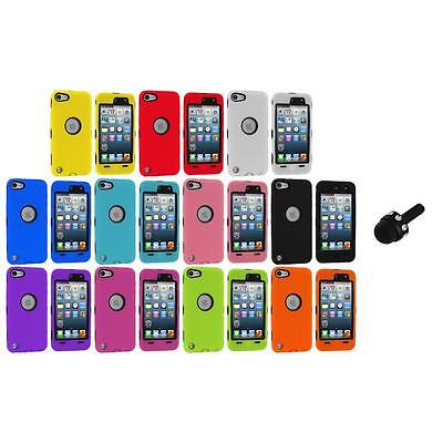 Deluxe Hybrid 3-Piece Case Cover+Protector+Mini Stylus for iPod Touch 5th 5G