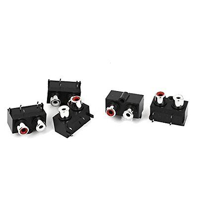 uxcell PCB Mount Red White 2 RCA Female Audio Video AV Socket Connectors 5pcs