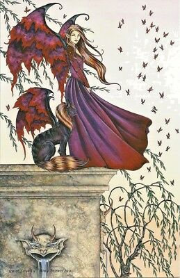 Amy Brown Fairy Faery Large Card Quiet Loyalty Lion Cat Winged Flying Wings