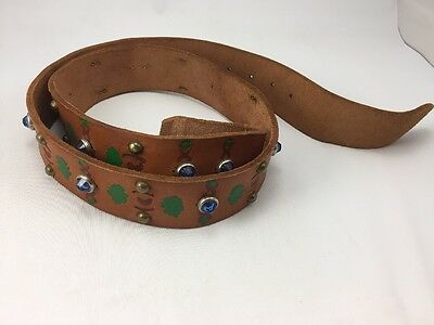 """Vintage Leather Belt w/ Jewels & Studs 30-36"""" Painted No Buckle"""