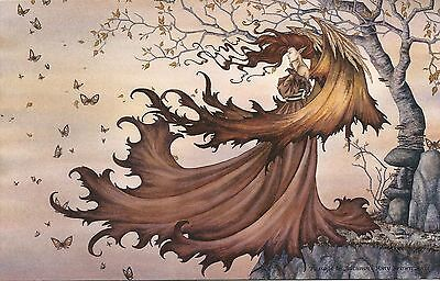 Amy Brown Fairy Faery Large Card Passage to Autumn Fall Leaves Wings Red Orange
