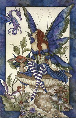 Amy Brown Fairy Faery Large Card Bottom of the Garden Toadstool Mushroom Blue