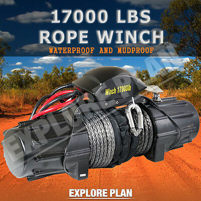 17000LBS Wireless Synthetic Rope Winch IP67 Waterproof 6914KG 12V Remote 4WD 4X4