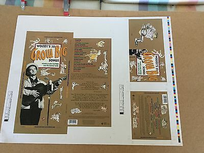 """Woody Guthrie """"20 grow big songs"""".  1992 cd box graphic art poster"""