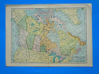 1904 Map Dominion Of Canada Original Colored Antique Map, Great Condition