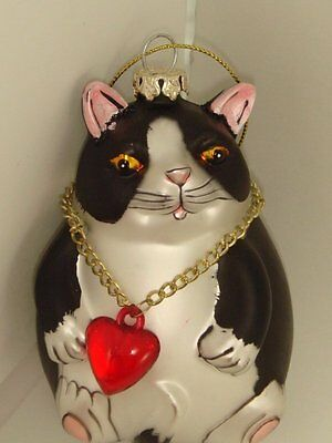 Big Fat Black Cat Christmas Tree Ornament Wearing Red Heart Necklace