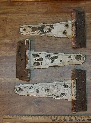 "3 Vintage Tee Hinges,9-5/8"" Strap,1-5/8"" X 7"" Butt,Crackled White,Rusty Patina"