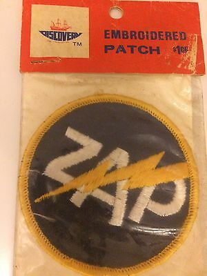 """Vintage Embroidered """"Zap"""" Patch- Still In Package"""