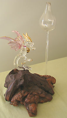 Dragon Medieval Hand Blown Glass Figurine Crystal Gold with Oil Lamp Wood Base