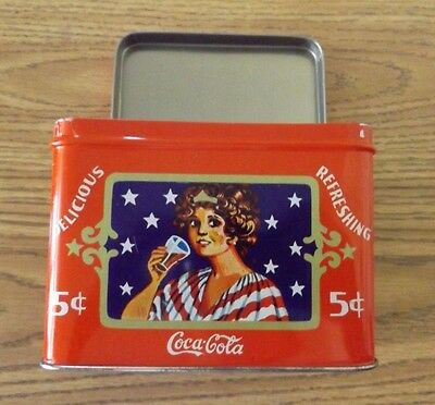 Vintage Collectible Coca-cola Tin Recipe Canister Box Hinged Lid, VGUC