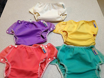 Mother Ease Airflow Lot of 5 size Large Cloth Diaper Covers Snap 27-35 lbs