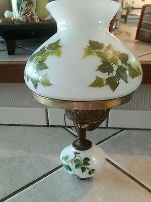 Antique Majestic Copper & Brass Electric Wall Sconce Milk Glass Hand Painted Ivy