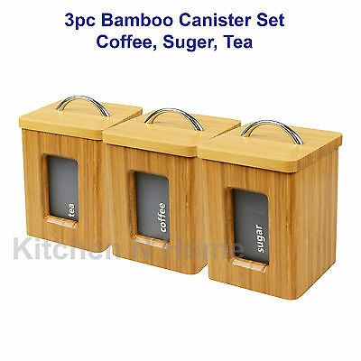 Bamboo coffee sugar tea canister set, Nature wood, 3pc Gift Set