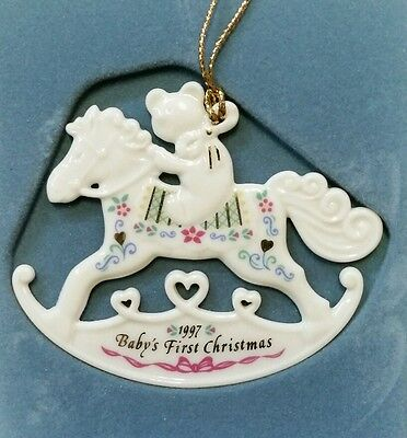 LENOX China 1997 BABY'S FIRST 1st CHRISTMAS Ornament Rocking Horse in Box