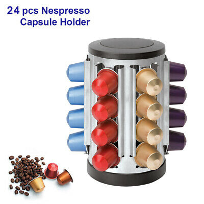 Bamboo Coffee Capsule Holder,Rack,Stand,Dispenser, Hold 40 Nespresso Caps