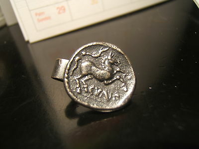 "GREEK - ROMAN COIN ""HORSE -GOD""  Tie Clasp  16 mm wide  Pewter/Super"