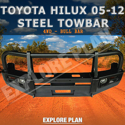 Toyota Hilux 05-12 Front Winch AIRBAG Compatible Bullbar Steel Lights