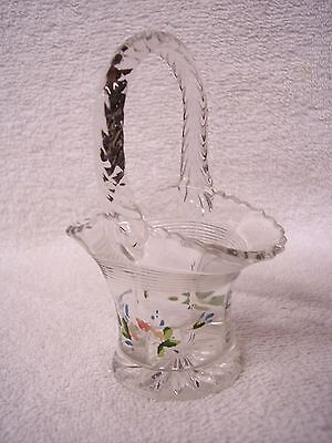 A Crystal Clear Glass Hand Painted Mini Glass Basket Baskets