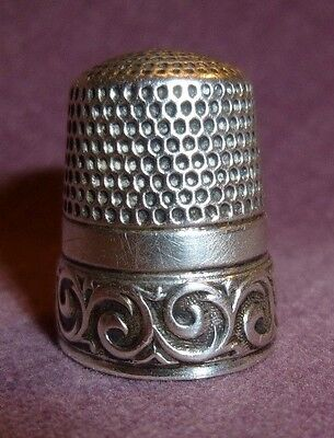 Antique Waite Thresher 1890 Sterling Silver Running Scrolls Band Thimble Size 11