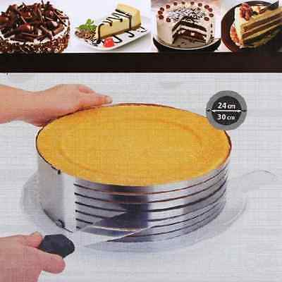 "9.6""-12"" Stainless Steel Layer Cake Slicer Kit Mousse Slicing Cake Setting Ring"