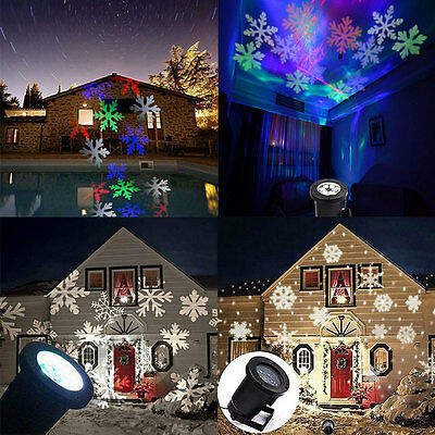 Moving Sparkling LED Snowflake Landscape Laser Projector Wall Lamp Xmas Light !