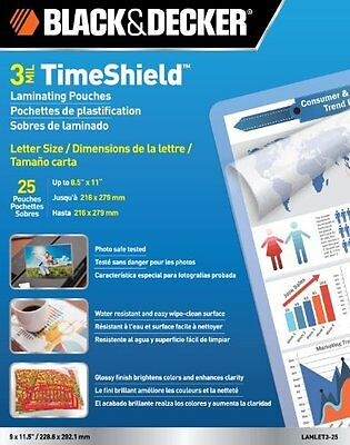 BLACK DECKER TimeShield Thermal Laminating Pouches Letter 3 mil 25 Pack