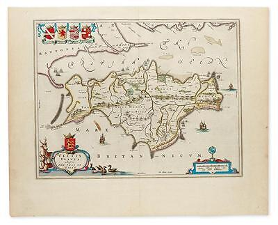 BLAEU, JOHANNES. Vectis Insula Anglice / The Isle of Wight. Lot 9