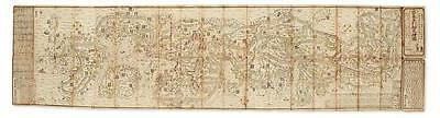 (JAPAN.) Folding woodblock map of Japan from the late Edo period. Lot 105