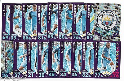 2016 / 2017 EPL Match Attax MANCHESTER CITY Team Set (24 Cards)