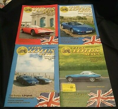 CLUB LOTUS NEWS - Owners Club Magazine All 4 Issues from 2009