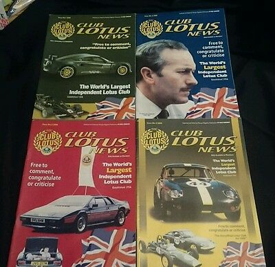 CLUB LOTUS NEWS - Owners Club Magazine All 4 Issues from 2000