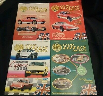 CLUB LOTUS NEWS - Owners Club Magazine All 4 Issues from 2001